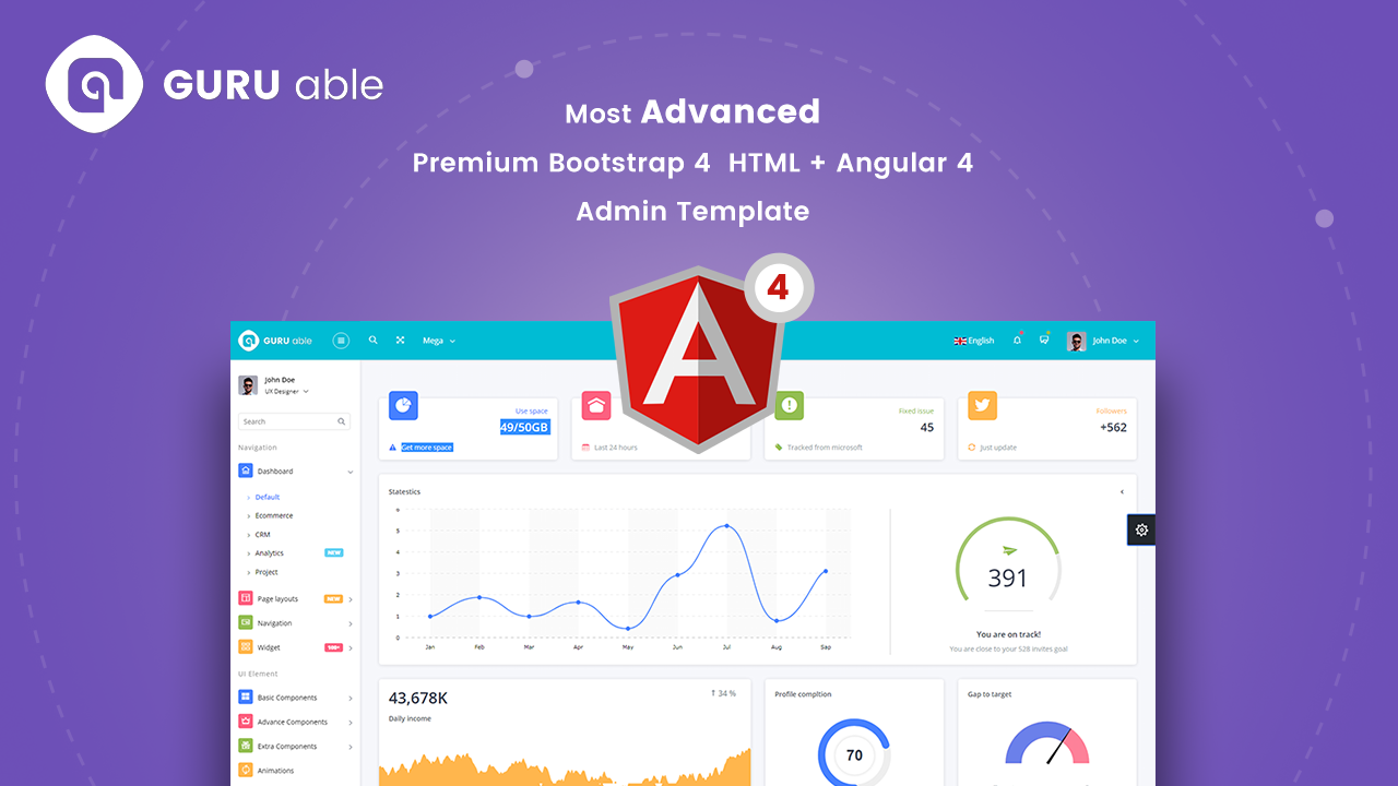 top 5 free bootstrap 4 admin dashboard templates for your web app 2017 codedthemes. Black Bedroom Furniture Sets. Home Design Ideas