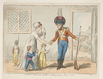 A colorful print on cream paper depicting a soldier in a red coat uniform resting a musket on the ground beside him; the wood stock gun is nearly as long as he is tall, reaching his shoulder. The soldier shakes the hand of a crying woman with two children beside her; a third child stands behind her, dressed in a perfect soldier's uniform including a gun with bayonet held at his side.