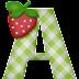 Alfabeto con Cuadros Verdes y Fresas.