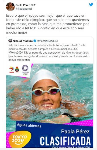 Nadadora Paola Perez le reclama a Maduro por nuca haberle dado la casa que le prometió en el 2016