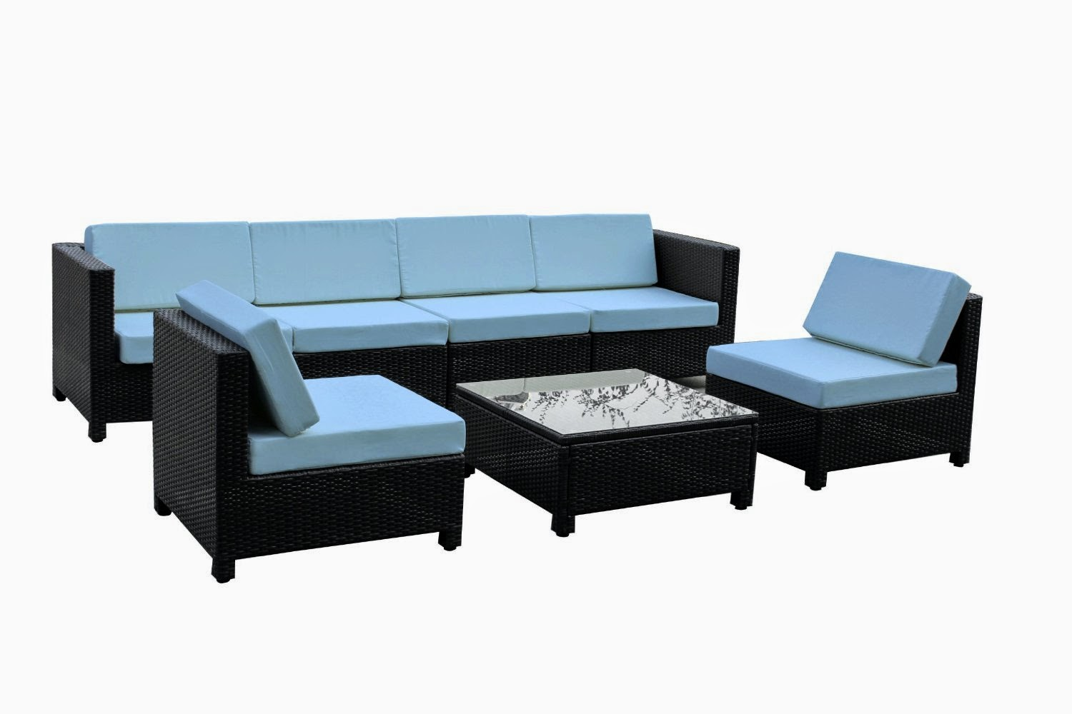 Exacme 7 pcs Luxury Wicker Patio Sectional Indoor Outdoor Sofa Furniture set Light Blue