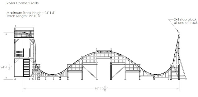 dimensioned engineering drawing of roller coaster