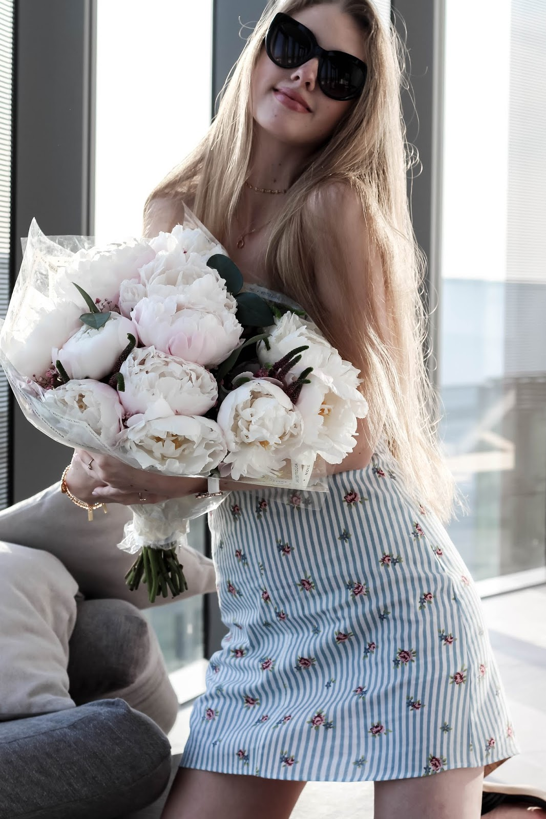 Topshop Blue Striped Floral Mini Pinafore Dress