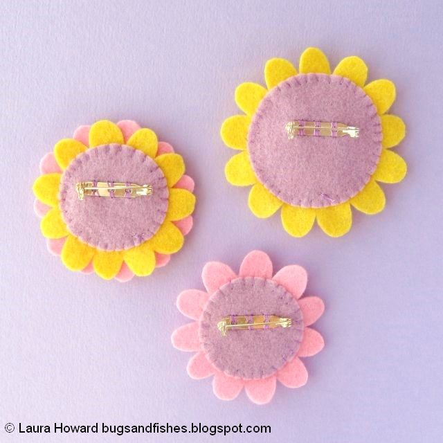 Felt Flower Brooches Tutorial: sew on the brooch backs