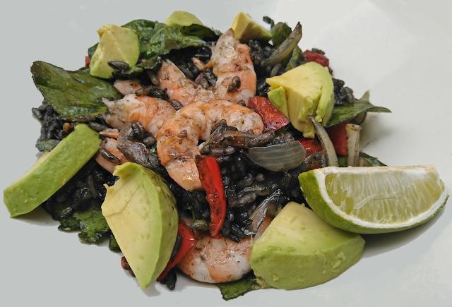 Prawns, Ginger, Black Rice, Avocado, Recipe