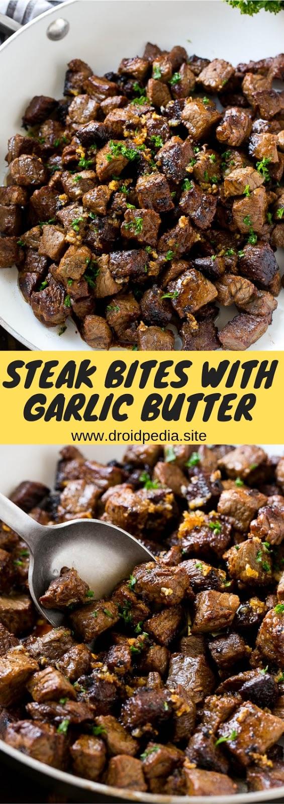Steak Bites with Garlic Butter #dinner #appetizer #american #steak #bites
