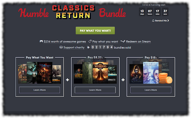 Screencap of Humble Classics Return Page