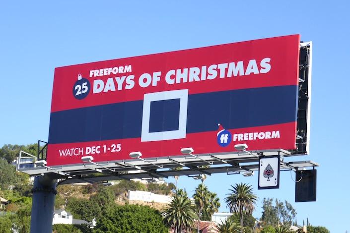 Freeform 25 Days of Christmas Santas belt billboard