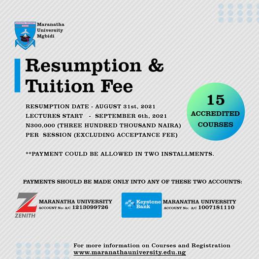 Maranatha University Resumption Date 2021/2022 Announced