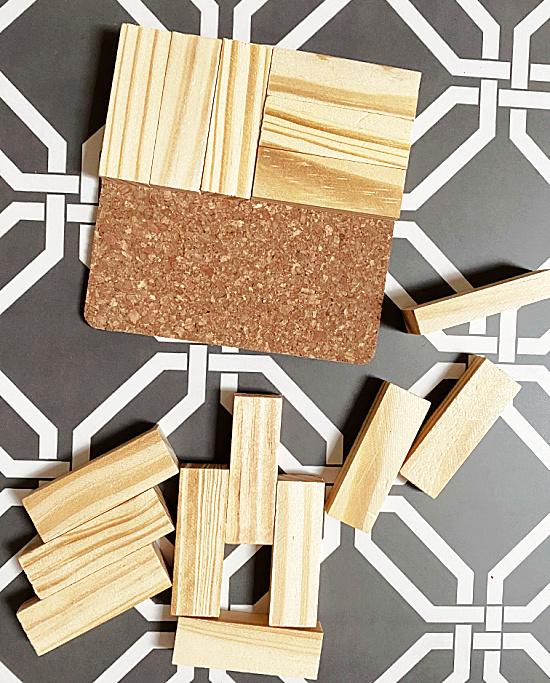wooden blocks on cork coasters