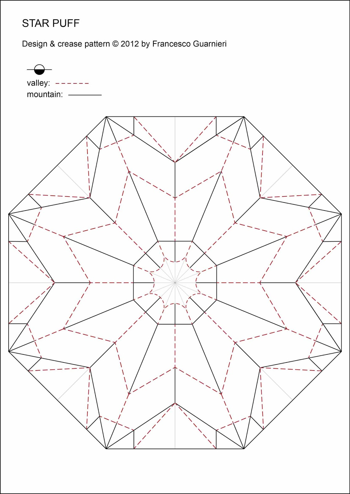 Origami Crease Pattern Star Puff by Francesco Guarnieri