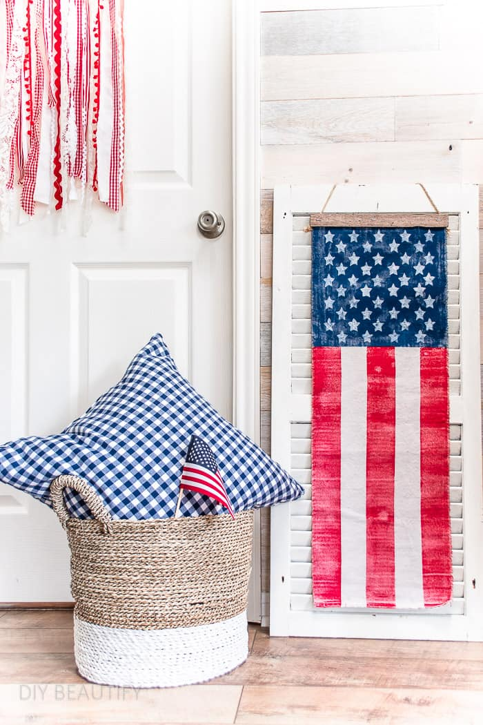 DIY American flag decor ideas with ribbon and canvas