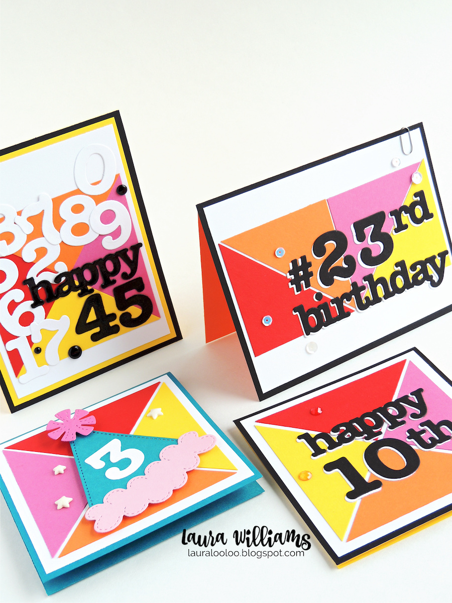 How to make simple graphic handmade cards using cut paper triangles and die cut numbers and letters from Impression Obsession. Check out lots of ideas and inspiration at my blog.