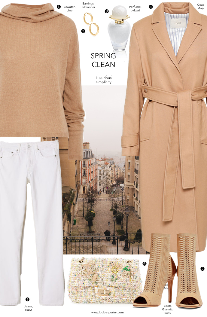 Styling a classic camel coat, white jeans, cashmere sweater and gianvito rossi boots with vintage chanel bag and Jil Sander jewellery for look-a-porter.com fashion blog