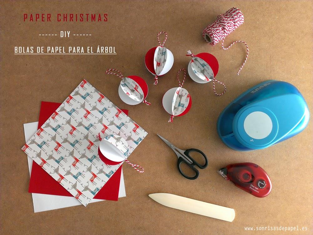 SONRISAS DE PAPEL DIY Adornos navideos de papel Bolas para el