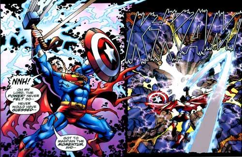 superman vs thor 8 Tokoh Superhero yang Bisa Mengangkat Palu Thor