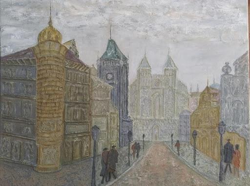 stari grad-reljefna slika(ulje na platnu)