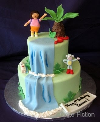 Cake Fiction Dora The Explorer And Boots Jungle Waterfall