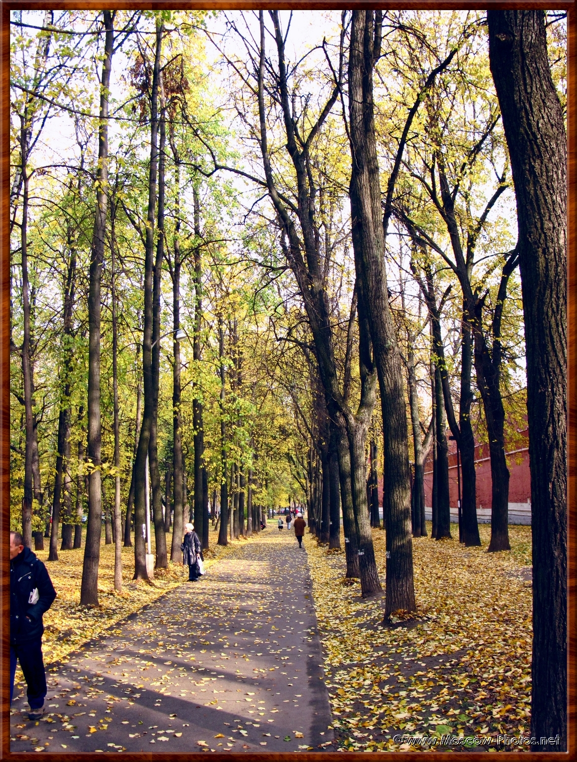 Path in autumn next to the monastery wall