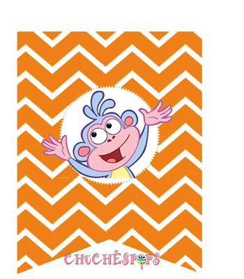 Banderines imprimibles fiesta Dora Exploradora color naranja