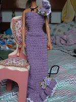 Barbie com vestido de crochet