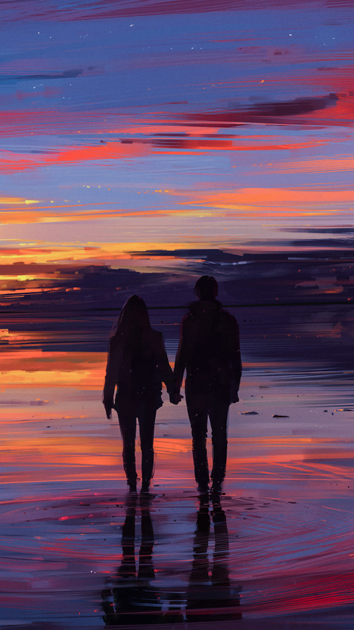 couple of lovers holding hands looking at the sunset 720 x1280