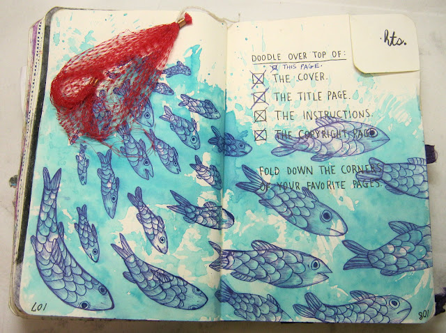 I added some water color and blue ballpoint pen to my free'd fishies page.
