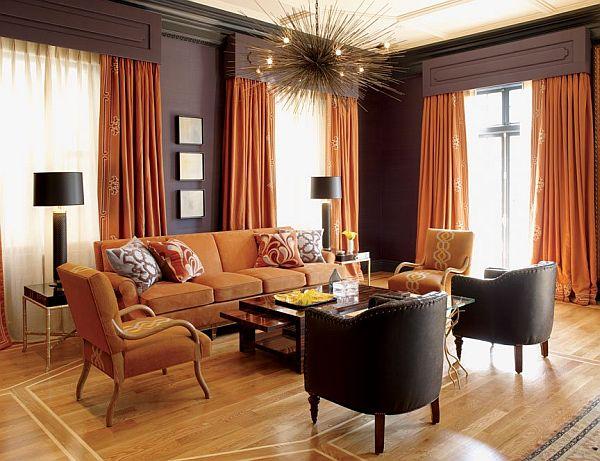 living room interior design with orange color. Black Bedroom Furniture Sets. Home Design Ideas