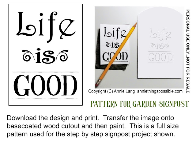 Sign In with a DIY garden signpost project from Annie Lang because Annie Things Possible when you make it yourself with this free trace and transfer design pattern