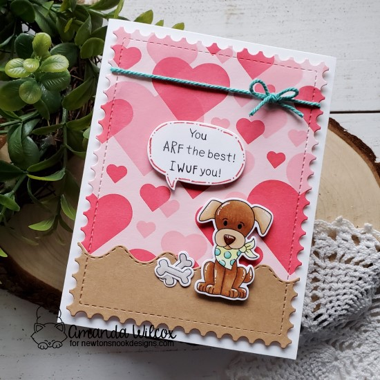 Puppy Birthday Card by Amanda Wilcox | Puppy Playtime Stamp Set, Bokeh Hearts Stencil Set, Sea Borders Die Set and Framework Die Set by Newton's Nook Designs #newtonsnook #handmade