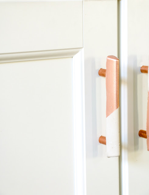DIY Door Pulls - Drawer Pulls - Copper and Concrete Industrial Design - Kitchen Cabinets - craft project - DIY Project