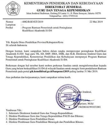 gambar surat dirjen gtk tentang bantuan pemerintah untuk guru