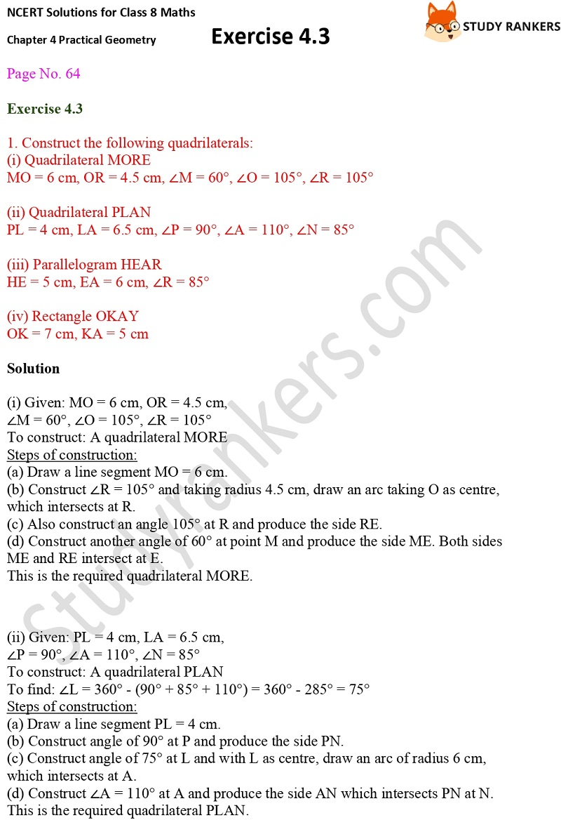 NCERT Solutions for Class 8 Maths Ch 4 Practical Geometry Exercise 4.3 1