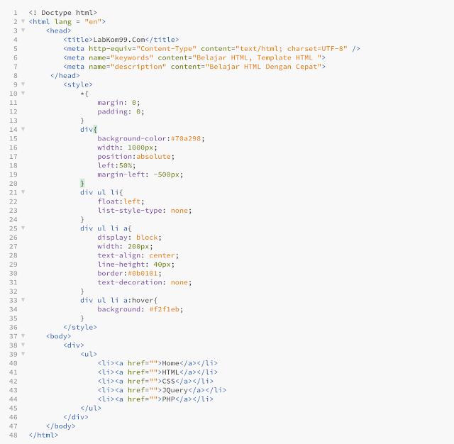 Belajar HTML Dan CSS Membuat Menu Navigasi Horizontal