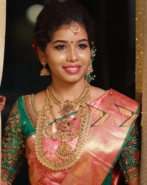 Bride in Antique Bridal Sets and Jhumkas