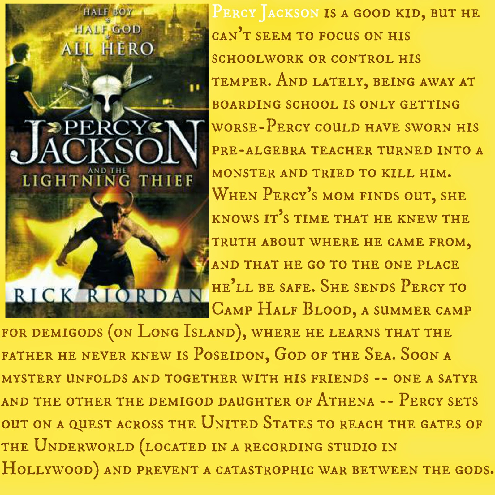 the lightning thief book synopsis