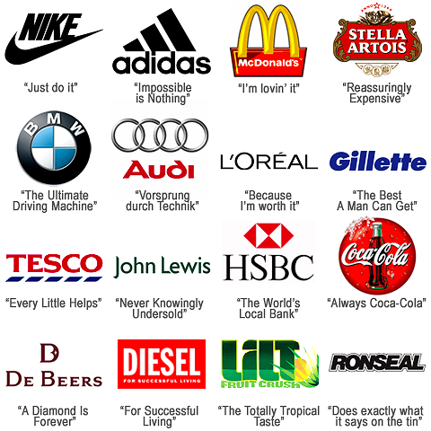Various brands and their taglines for dating