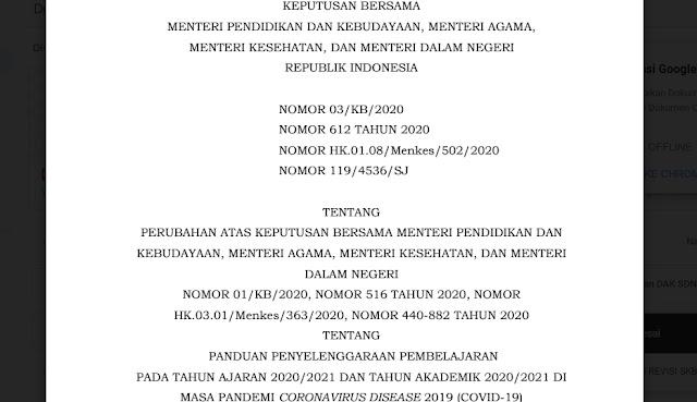 Revisi SKB 4 Menteri Tentang Panduan Penyelenggaraan Pembelajaran Dimasa Pandemi COVID-19