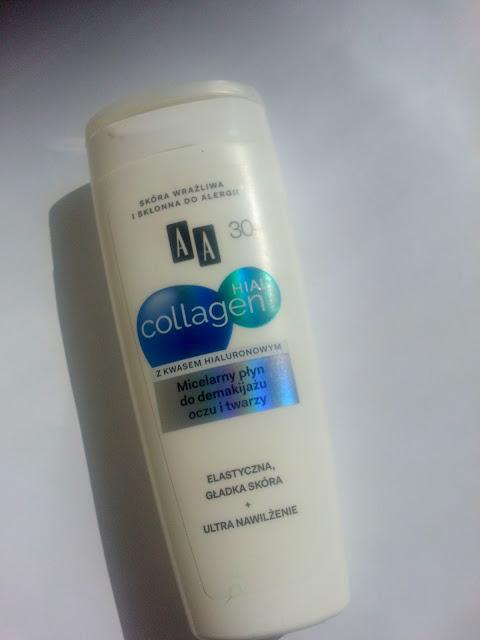 AA, Micelarny płyn do demakijażu oczu i twarzy 30+, Hial + Collagen