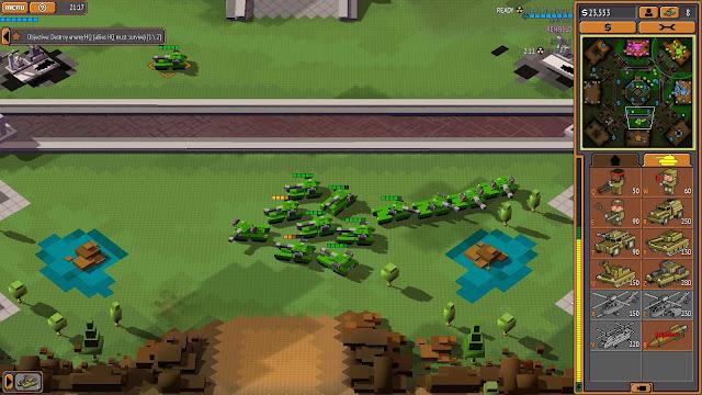 Screenshot of Heavy Tanks approaching an enemy AI base