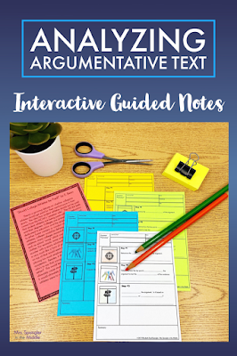 I use these notes to deconstruct the standard for analyzing argumentative text with my middle school students.