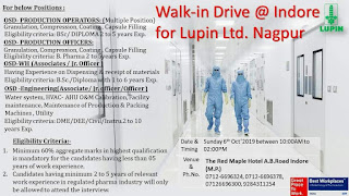 Lupin Ltd walk in interview