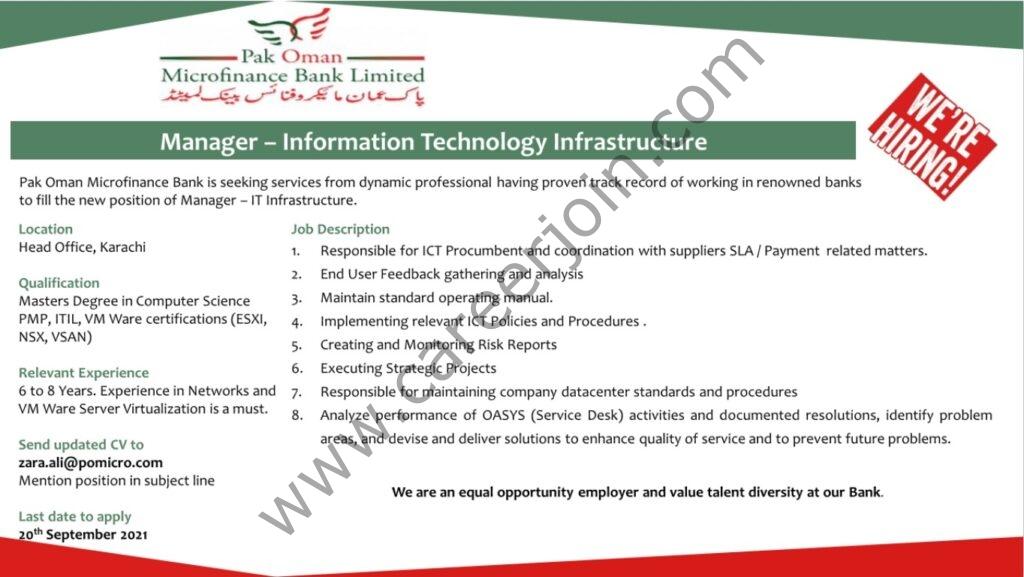 zara.ali@pomicro.com  - Pak Oman Microfinance Bank Ltd Jobs 2021 in Pakistan