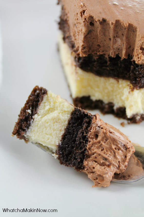 Chocolate Italian Love Cake - So easy, but looks fancy. Chocolate cake with a sweet Ricotta Cheese filling.