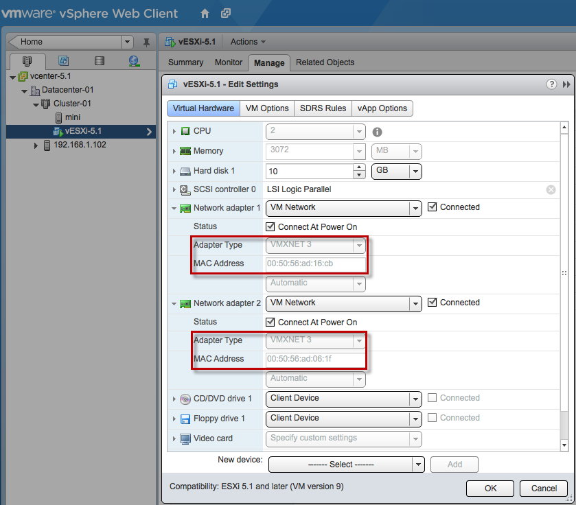Nested ESXi 5 1 Supports VMXNET3 Network Adapter Type