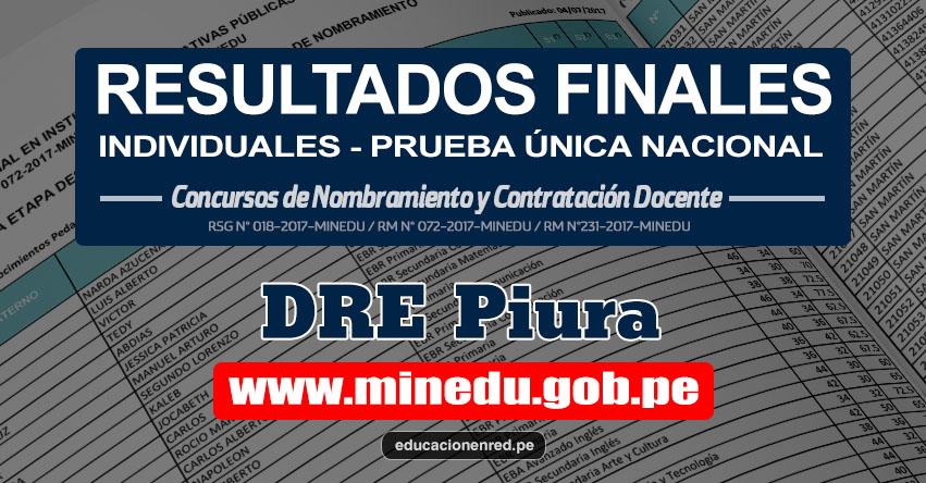 DRE Piura: Resultado Final Individual Prueba Única Nacional y Relación de Postulantes Habilitados para Etapa Descentralizada Nombramiento Docente 2017 - MINEDU - www.drep.gob.pe