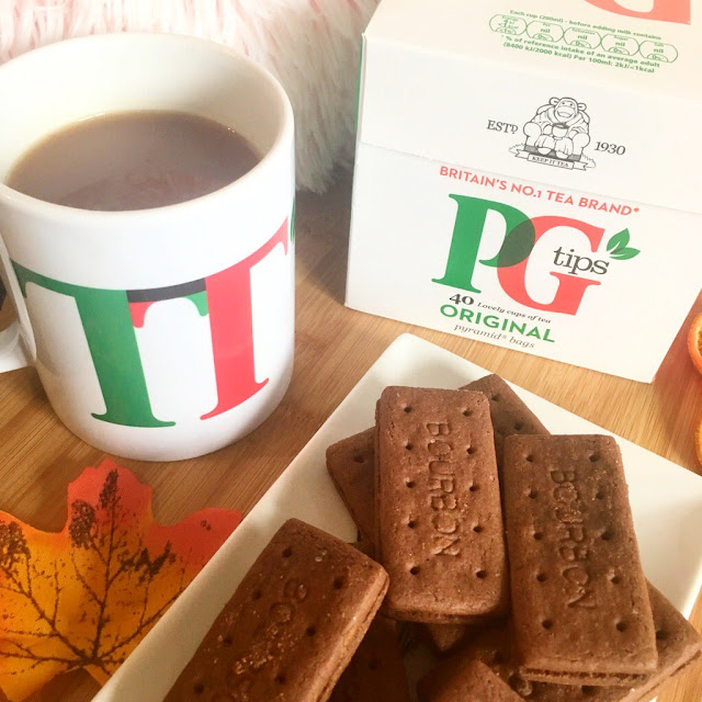 PG Tips, cup of tea, biscuits