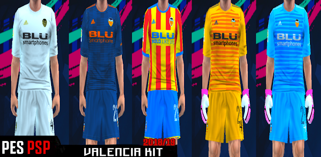 new products cfd29 b5355 Valencia 18/19 Kits PES PSP (PPSSPP)