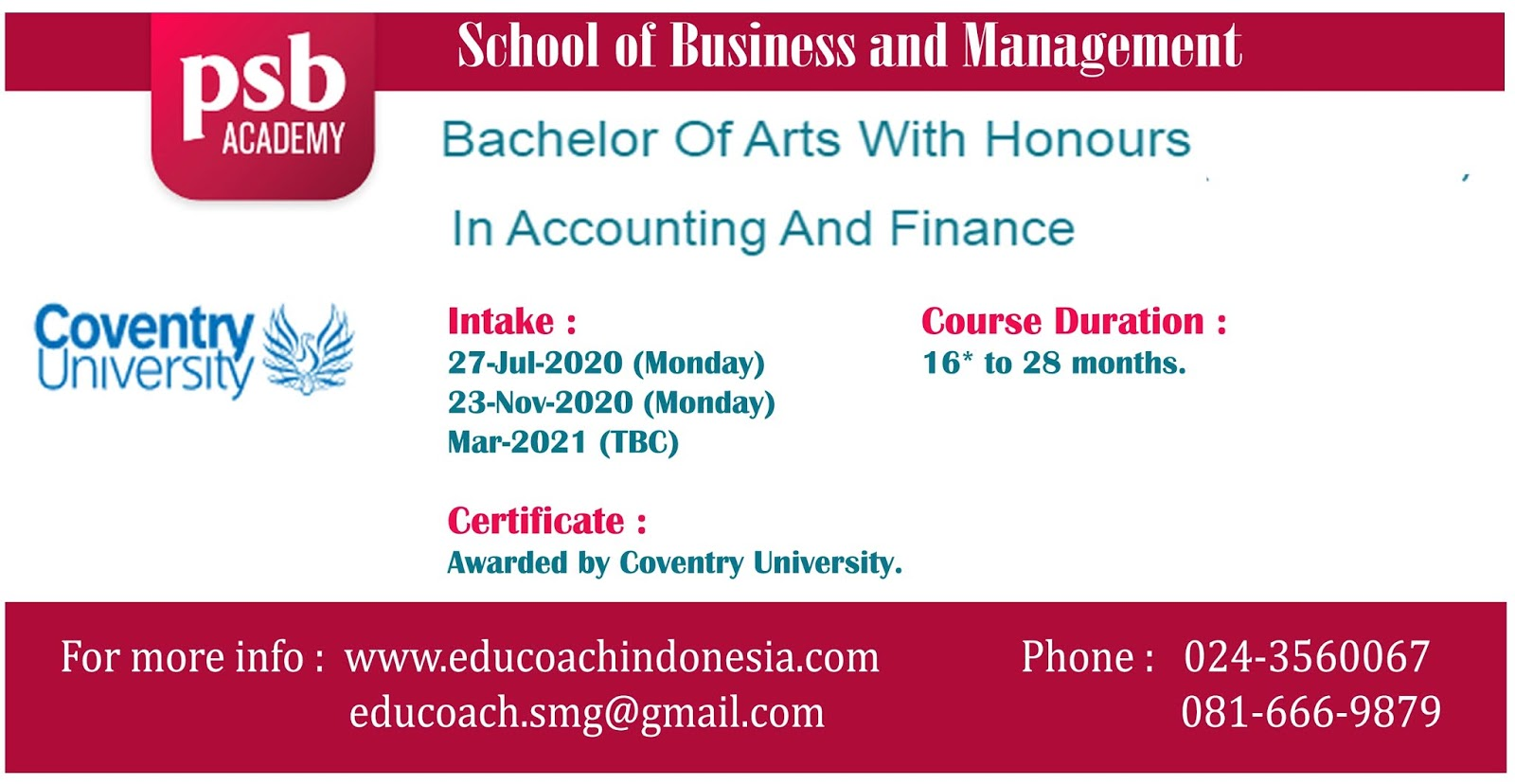Bachelor Of Arts With Honours In Accounting And Finance | University of Coventry | PSB Academy Singapura