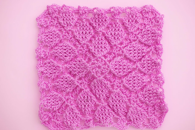 4 - Crochet Imagen Puntada colcha infinita de hojas en relieve a crochet por Majovel Crochet